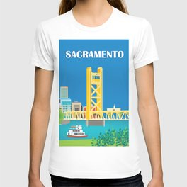 Sacramento, California - Skyline Illustration by Loose Petals T-shirt