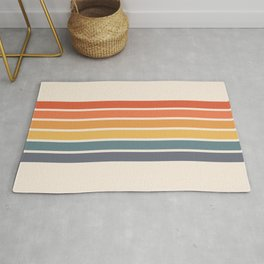 Parama - Classic Colorful 70s Vintage Style Retro Racing Summer Stripes Rug