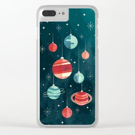 Joy to the Universe (in Teal) Clear iPhone Case