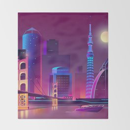 Synthwave Neon City #1 Throw Blanket
