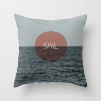 sail Throw Pillows featuring Sail by Carla Talabá