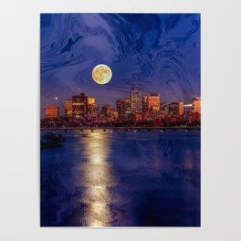 Moon light night, Boston MA Poster