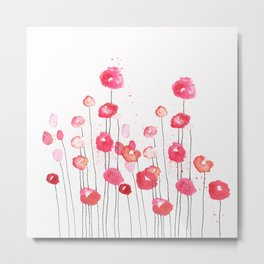 Poppies in Pink Metal Print