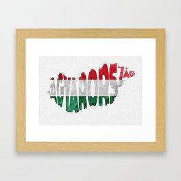 Magyarország World Map / Hungary Typography Flag Map Art Framed Art Print