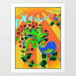 Bright Psychedelic Bird, Retro Style Art Print