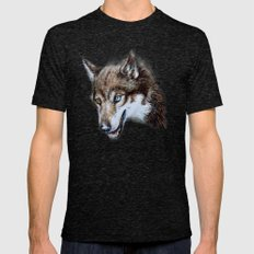 Heterocromia wolf SMALL Mens Fitted Tee Tri-Black