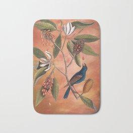 Blue Grosbeak with Sweetbay Magnolia, Vintage Natural History and Botanical Bath Mat