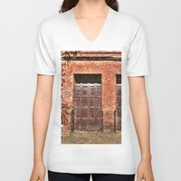 doors V-neck T-shirts featuring Barn Doors by Agrofilms