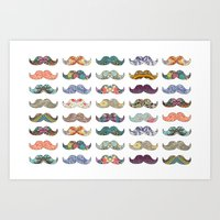 pun Art Prints featuring Mustache Mania by Bianca Green