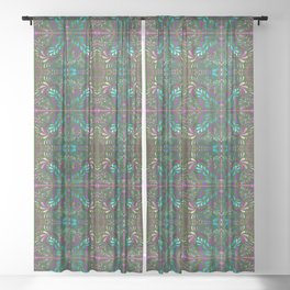 aboriginal style - flowers and leaves 1 green Sheer Curtain