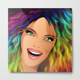 Happy Girl Rainbow Fashion Hair Metal Print