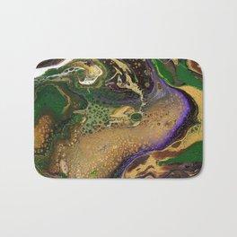 Fluid Gold XII - Abstract, textured, fluid, acrylic painting Bath Mat
