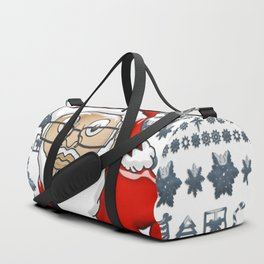 MoCKiNg SaNta Shark Blue Background Duffle Bag