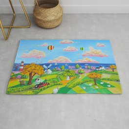 Folk art painting cow and sheep Rug