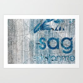 Textures And Chipped Paint In Blue And White Art Print