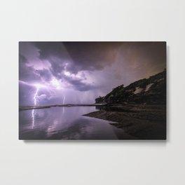 Dramatic lightning storm illuminates the sky Metal Print
