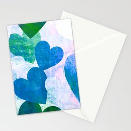 Fab Green & Blue Grungy Hearts Design Stationery Cards
