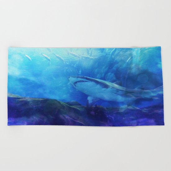 Make Way for the Great White Shark King  Beach Towel