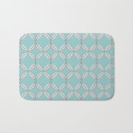 Seamless Leaves Pattern Turquois Bath Mat