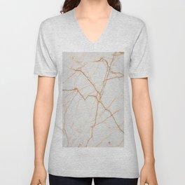 stylish minimalist trendy chic rose gold white marble Unisex V-Neck