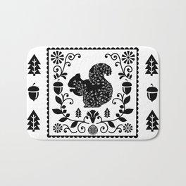 Woodland Folk Black And White Squirrel Tile Bath Mat