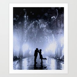 Lovers in the park Art Print