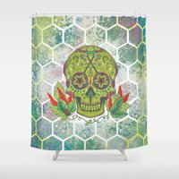 sugar skull Shower Curtains featuring Sugar Skull by Brit Derr