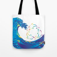 hokusai Tote Bags featuring Hokusai Rainbow & rotating dolphins_D by FACTORIE