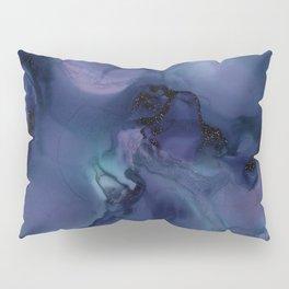 Blue Ink and Black Glitter Pillow Sham