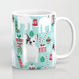 French Bulldog festive holiday pet portrait for frenchie owner pet friendly dog illustration Coffee Mug