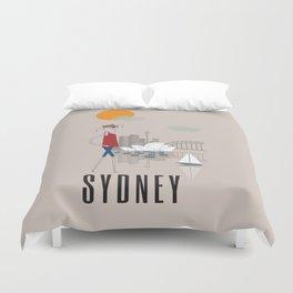 Sydney - In the City - Retro Travel Poster Design Duvet Cover