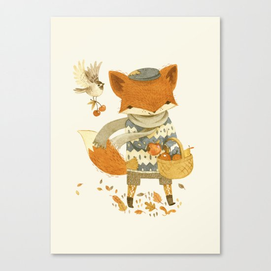 Fritz the Fruit-Foraging Fox Canvas Print