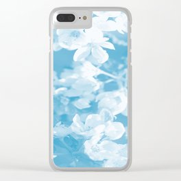 Spring Atmosphere White Flowers Sky Blue Background #decor #society6 #homedecor Clear iPhone Case