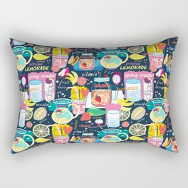 Seamless pattern of various fruit drinks and fruit on a dark background Rectangular Pillow