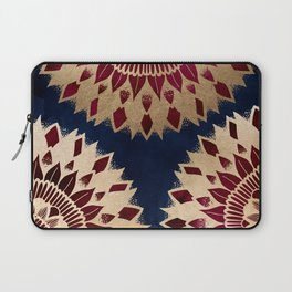Bohemian Gold Navy Burgundy Hand Drawn Mandala Laptop Sleeve