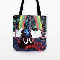alone Tote Bags featuring alone by Evren Yılmaz