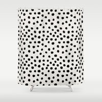 preppy Shower Curtains featuring Preppy brushstroke free polka dots black and white spots dots dalmation animal spots design minimal by CharlotteWinter