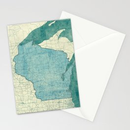 Wisconsin State Map Blue Vintage Stationery Cards