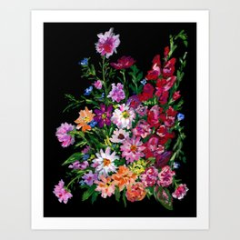 Zinnias and Gladiolus Bouquet Art Print