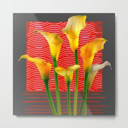 White Lily Amoung The Golden Calla Lilies Metal Print