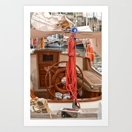 red roped boat Art Print