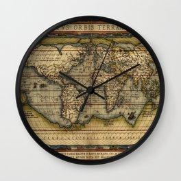 Vintage World Map - Ortelius World Map 1570 Wall Clock
