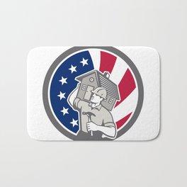 American Building Contractor USA Flag Icon Bath Mat