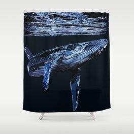 Dark Water Whale Shower Curtain