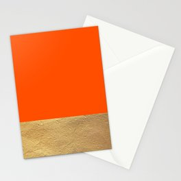 Color Blocked Gold & Poppy Stationery Cards