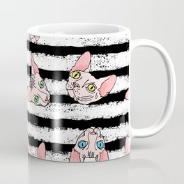 sphynx cats on striped (naked cats) Coffee Mug