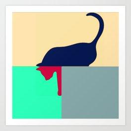 Cat design bold colours Art Print