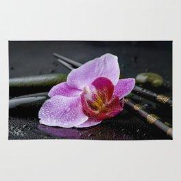 Pink orchid zen black still life Asia Rug