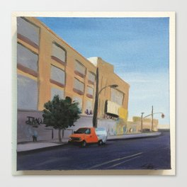 Tree and Orange Van on Flushing, print of original oil painting Canvas Print