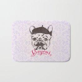 Funny Mustache French Bulldog Sketch Typography Bath Mat